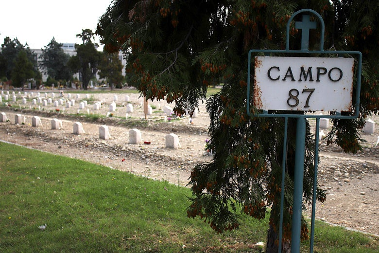 A sign near the graveyard marking Campo 87.