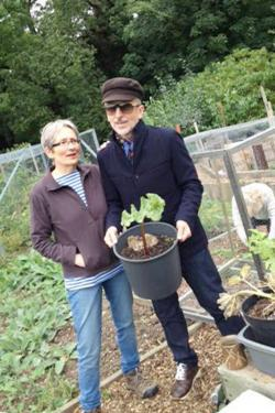 The author with his sister, Shelagh Doonan, at her allotment in South London.