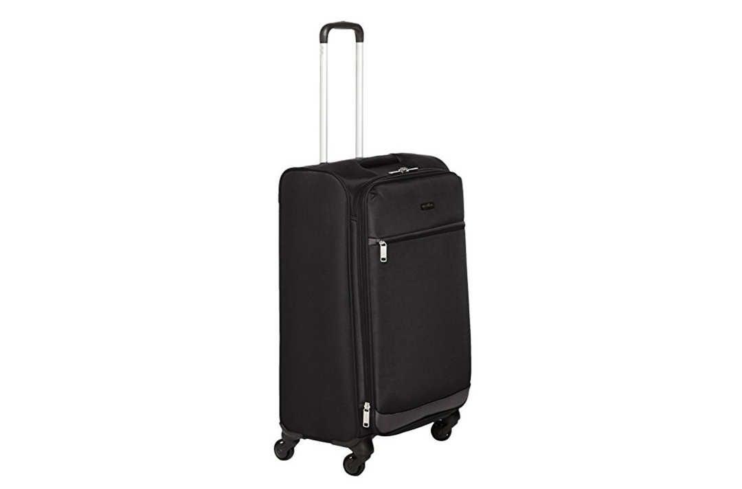 AmazonBasics Softside Spinner Luggage, Black, 25-inch.
