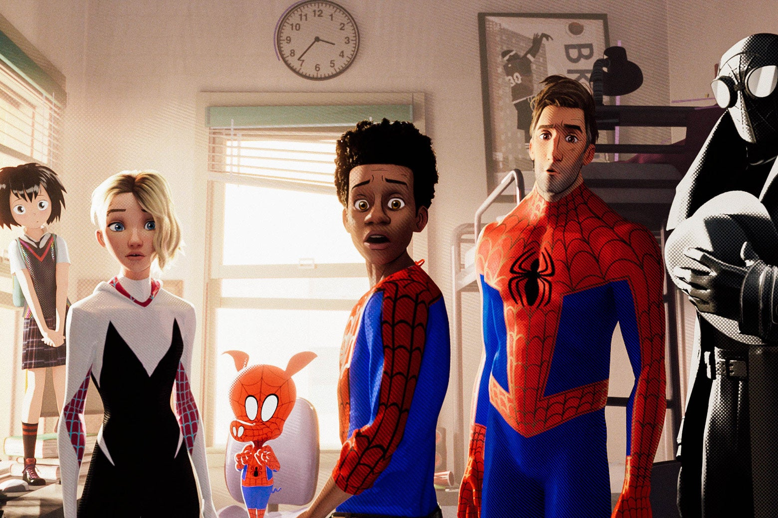 A still featuring several characters from Spider-Man: Into the Spider-Verse.