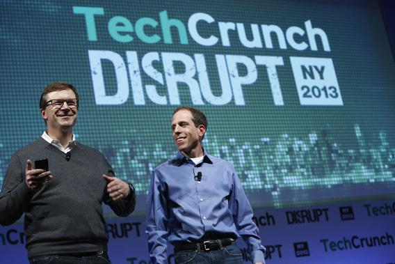 Ned Desmond, COO of TechCrunch, and Matt Kaufman, president of CrunchBase, speak onstage at TechCrunch Disrupt NY 2013 at the Manhattan Center on April 30, 2013, in New York City.