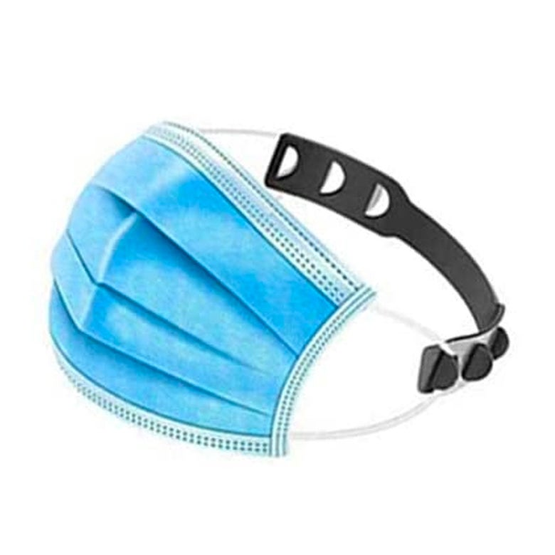 A surgical mask with a mask strap extender.