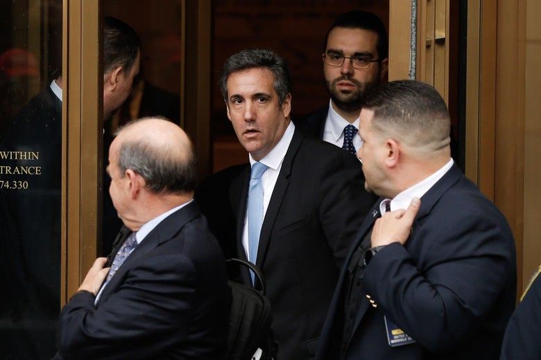 President Trumps lawyer Michael Cohen exits the US Federal Court on April 16, 2018, in Lower Manhattan, New York.         President Donald Trump's personal lawyer Michael Cohen has been under criminal investigation for months over his business dealings, and FBI agents last week raided his home, hotel room, office, a safety deposit box and seized two cellphones. Some of the documents reportedly relate to payments to porn star Stormy Daniels, who claims a one-night stand with Trump a decade ago, and ex Playboy model Karen McDougal who also claims an affair. / AFP PHOTO / EDUARDO MUNOZ ALVAREZ        (Photo credit should read EDUARDO MUNOZ ALVAREZ/AFP/Getty Images)