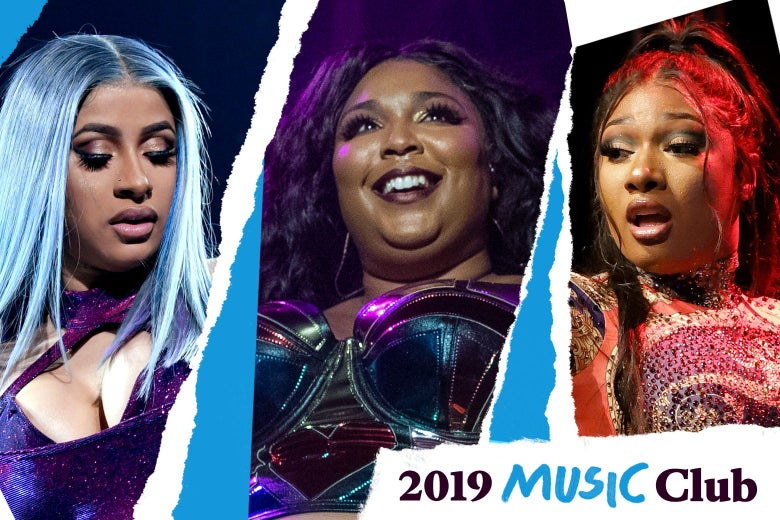 Collage of Cardi B, Lizzo, and Megan Thee Stallion, with the Music Club logo.