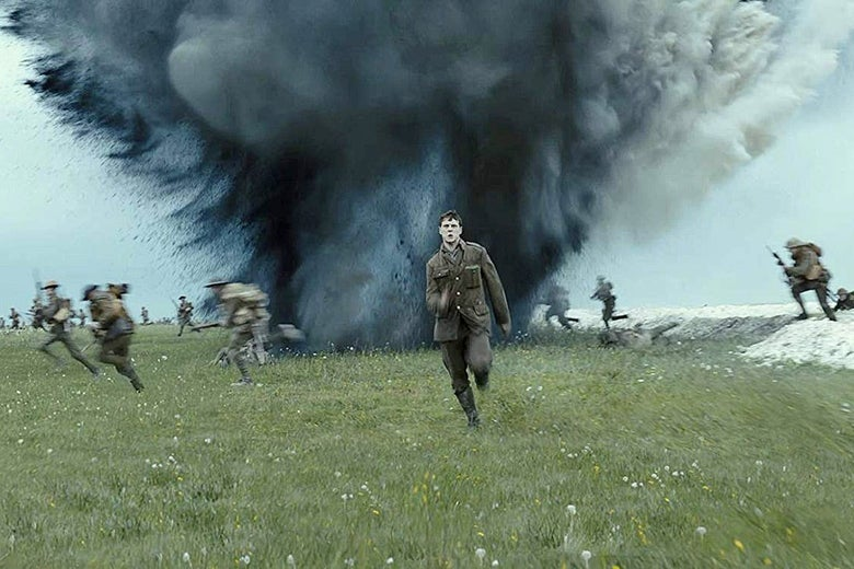 One man charges heroically across an open battlefield as bombs and bullets whiz by