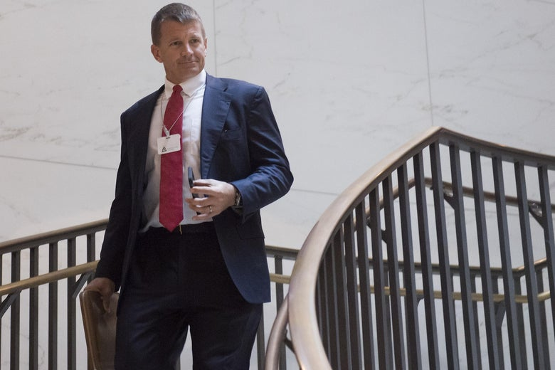 Erik Prince, former Navy Seal and founder of private military contractor Blackwater USA, arrives to testify during a closed-door House Select Intelligence Committee hearing on Capitol Hill in Washington, D.C. on Nov. 30, 2017.