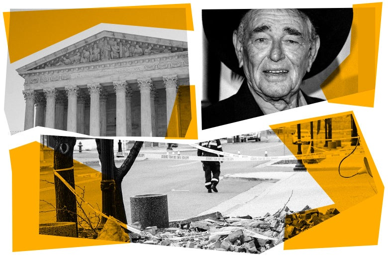 The Supreme Court, Stuart Whitman, and a street with rubble, bordered with police caution tape.