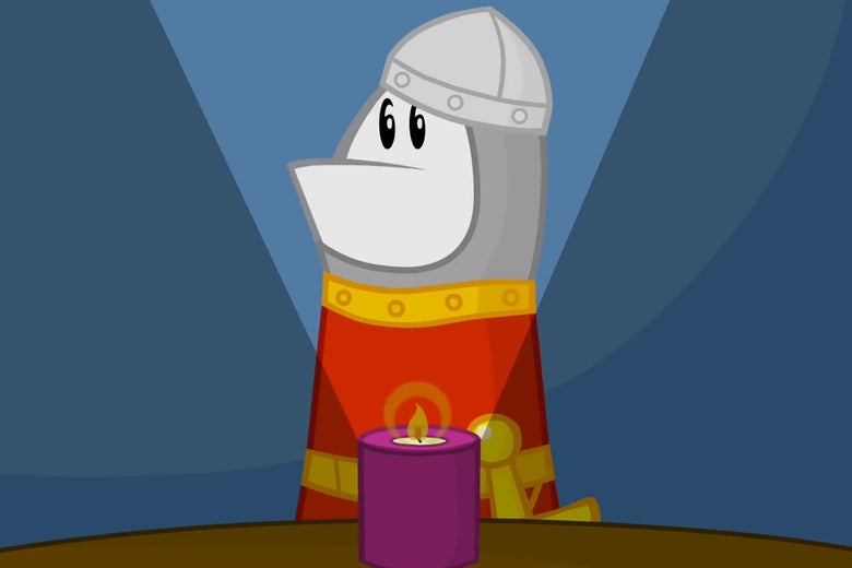 Animated character Homestar Runner, in a Dirk the Daring costume, leans over a scented candle to tell a scary story.