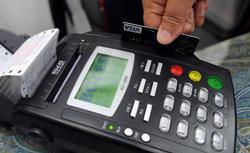 Debit card swipe machine. Click image to expand.