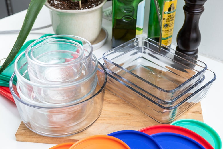 Stacked Pyrex containers