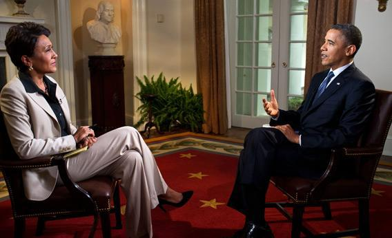 .S. President Barack Obama participates in an interview with Robin Roberts of ABC's Good Morning America.