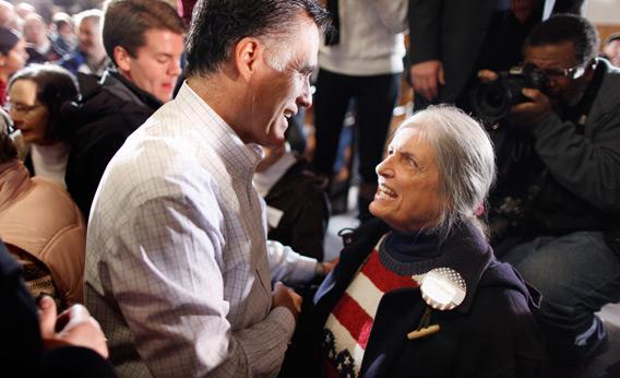 Mitt Romney and female supporter.