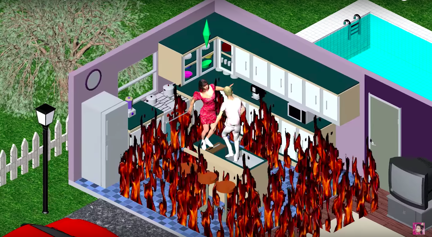 A Sims house on fire.