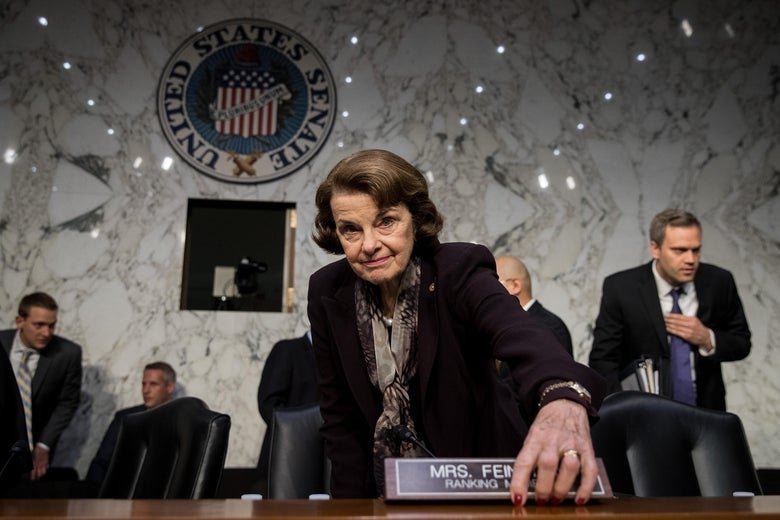 Sen. Dianne Feinstein arrives for a Senate Judiciary Committee hearing on Capitol Hill.