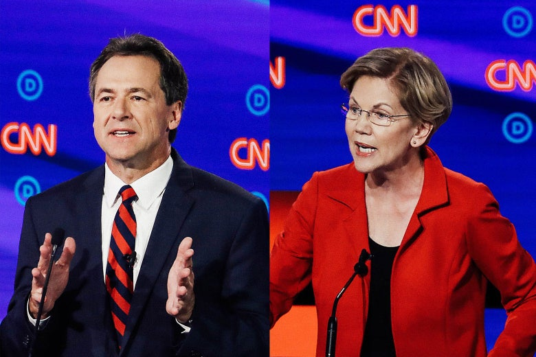 Steve Bullock and Elizabeth Warren, both at the debate Tuesday.