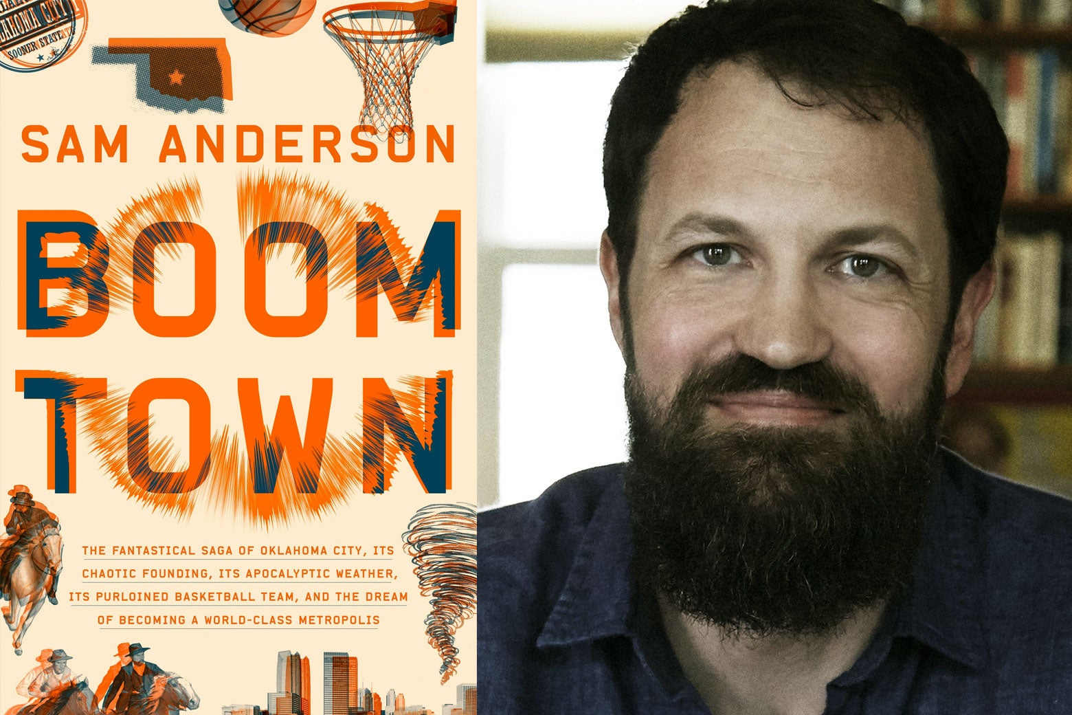 Boom Town book cover alongside its author, Sam Anderson.