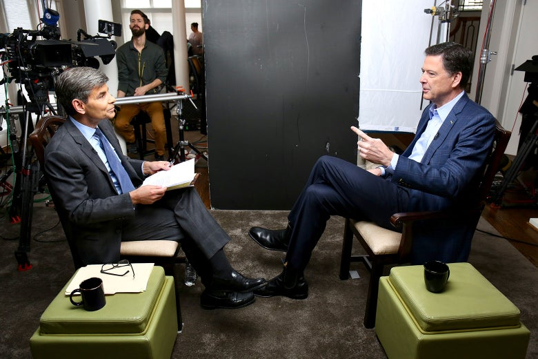 George Stephanopoulos and James Comey filming their interview.