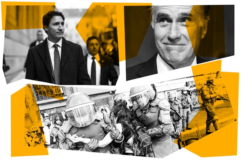 Justin Trudeau, Mitt Romney, and protests in Chile.
