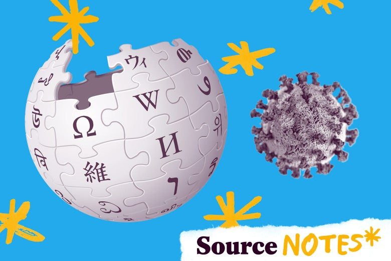 The Wikipedia globe is seen next to a coronavirus cell. Both are surrounded by asterisks.