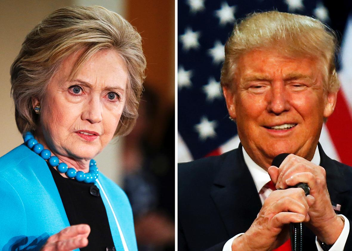 A combination photo shows U.S. Democratic presidential candidate Hillary Clinton and Republican U.S. presidential candidate Donald Trump in Los Angeles, California on May 5, 2016 and in Eugene, Oregon, U.S. on May 6, 2016 respectively.