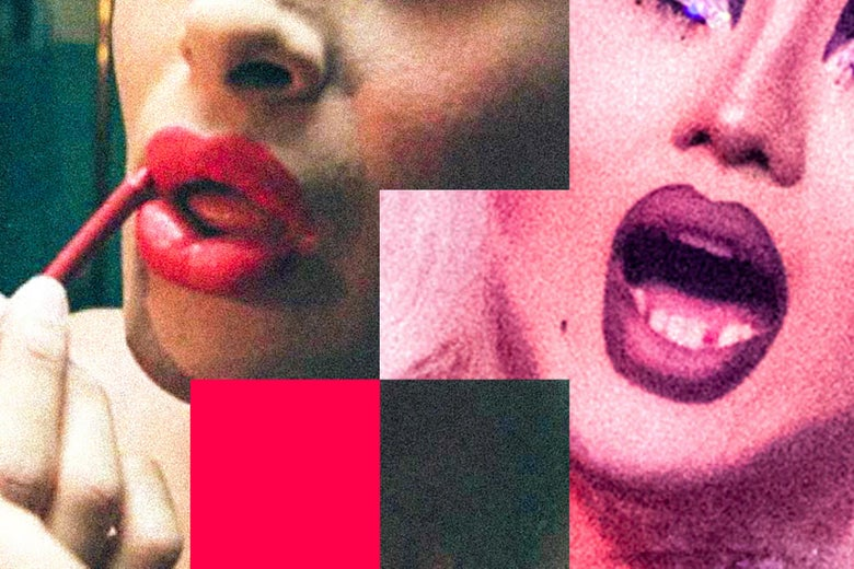 Close-up photos of two drag queen lips, one from the early '90s and another from 2016.