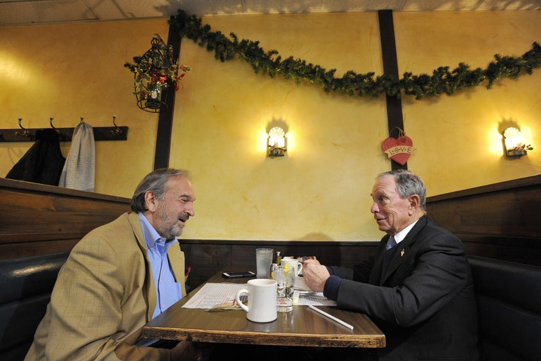Bloomberg talking to Billy Shaheen over coffee in a diner booth.