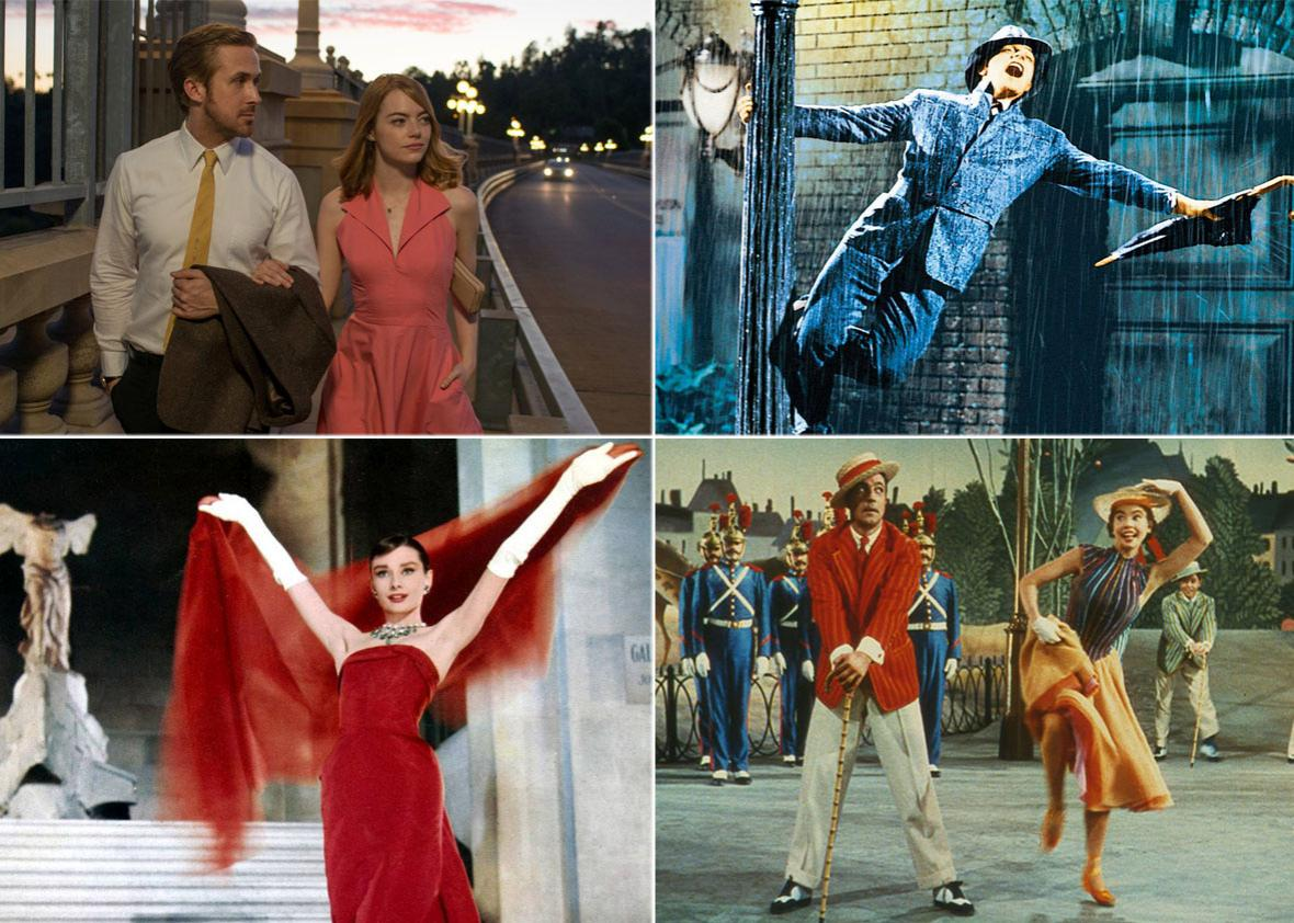 La La Land (top left), with a few of its inspirations: Singin' in the Rain (top right), Funny Face (bottom left), and An American in Paris (bottom right).