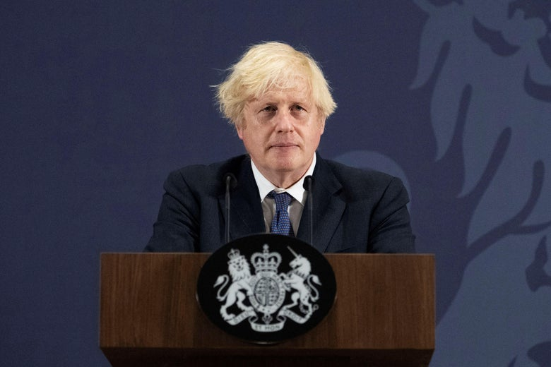 Britain's Prime Minister Boris Johnson delivers a speech in Coventry, central England on July 15, 2021.       West Midlands. 15th July 2021 (Photo by David Rose / POOL / AFP) (Photo by DAVID ROSE/POOL/AFP via Getty Images)