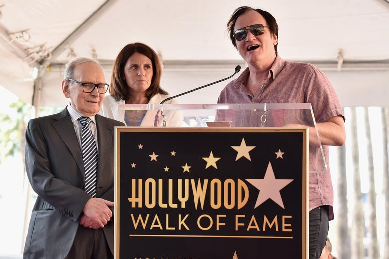 Ennio Morricone and Quentin Tarantino at Morricone's Hollywood Walk of Fame ceremony.
