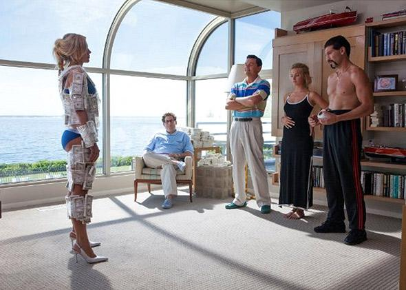 Leonardo DiCaprio, Jon Bernthal, Jonah Hill and Margot Robbie in The Wolf of Wall Street (2013).