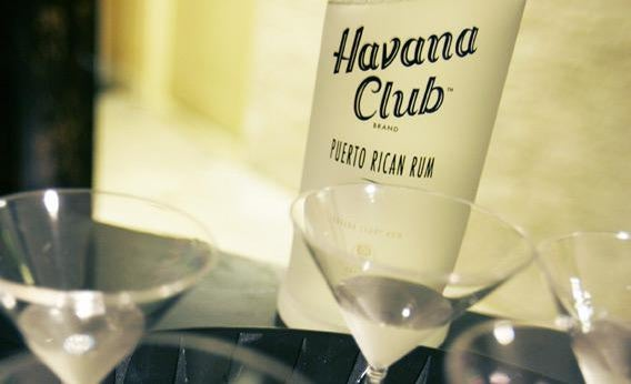 A bottle of Havana Club rum is displayed outside a local jazz club in Miami Beach 17 August 2006.
