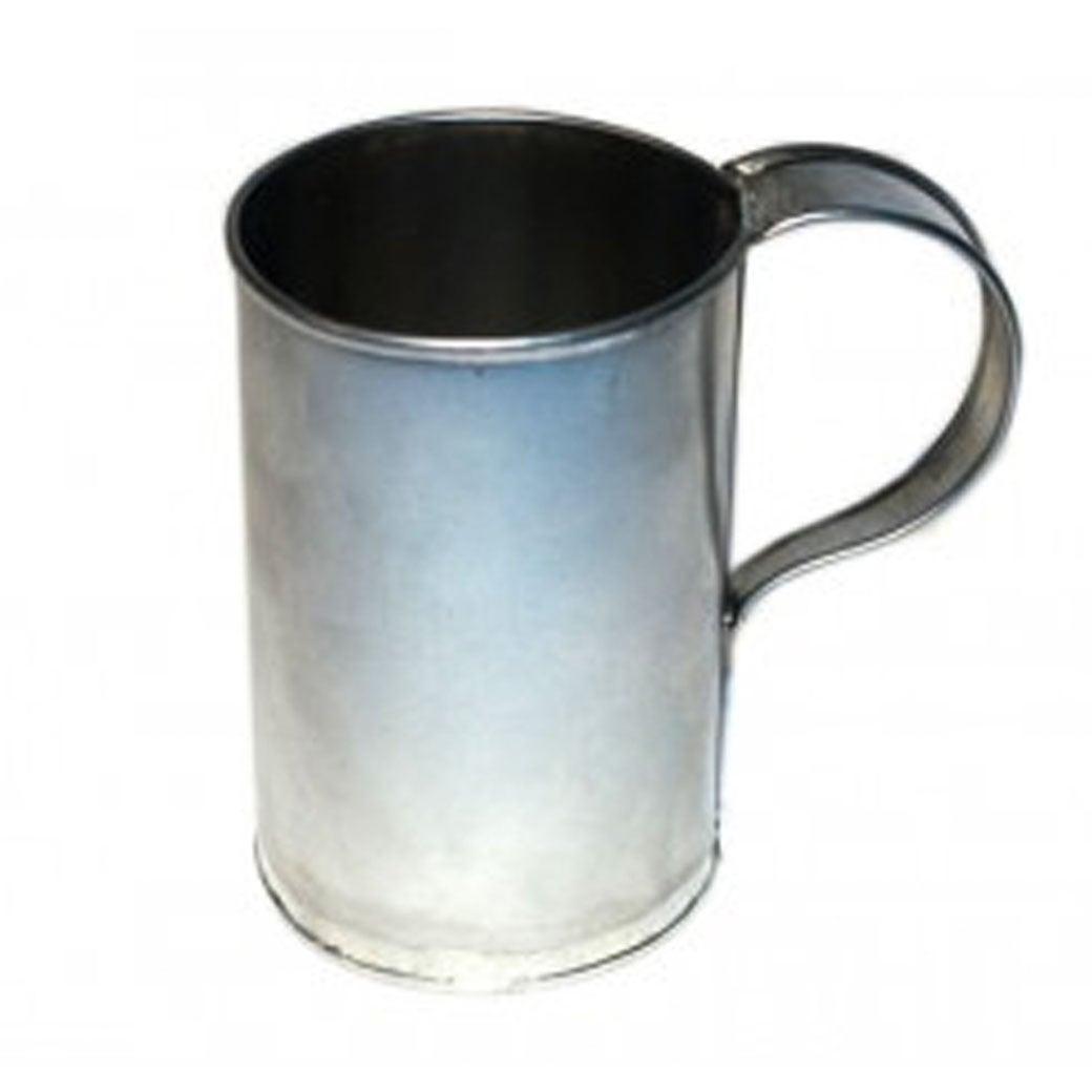 A tin cup.