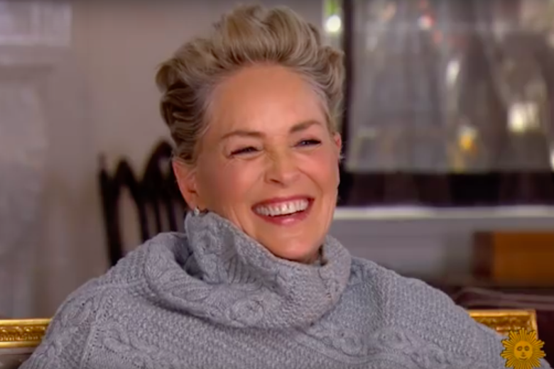 Sharon Stone, laughing