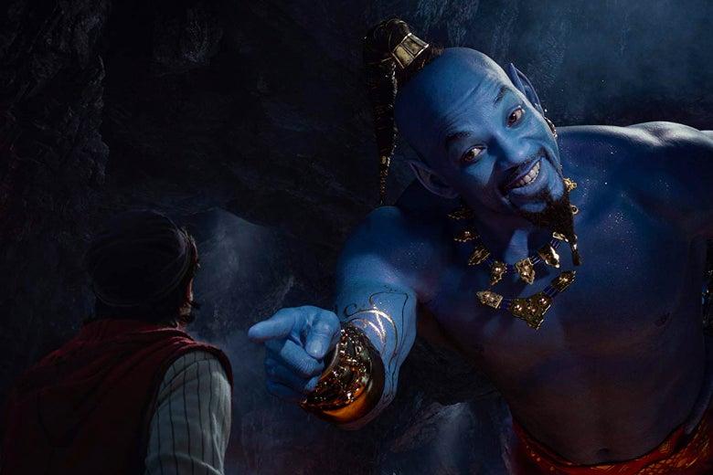 Mena Massoud and Will Smith as Aladdin and Genie in Aladdin.