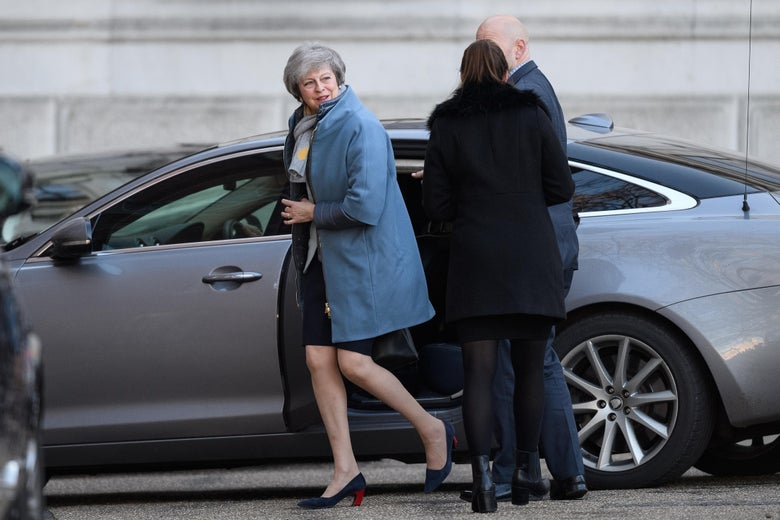 Britain's Prime Minister Theresa May arrives at Downing Street on February 11, 2019 in London, England.