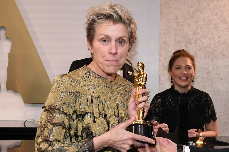 Frances McDormand with her Oscar on Sunday.