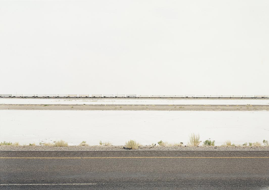 Untitled (White Trains on Salt Flats, I-80) Great Salt Lake Desert, Utah, 2002.