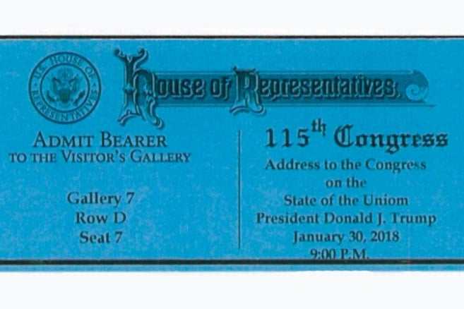Typo in the tickets for Trump's first State of the Union.