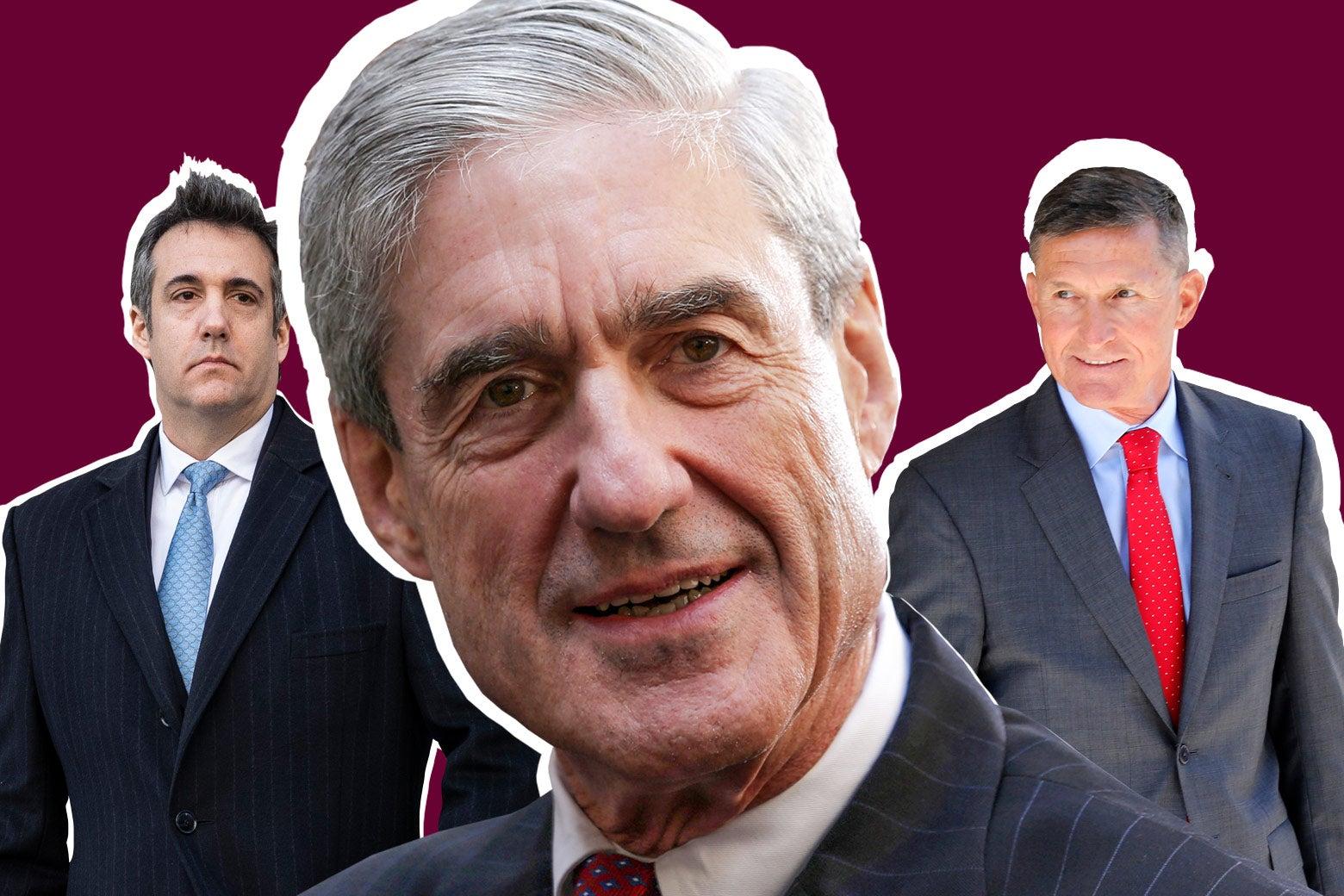 Michael Cohen, Robert Mueller, and Mike Flynn.