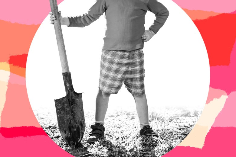 Girl proudly holding a shovel in the dirt.