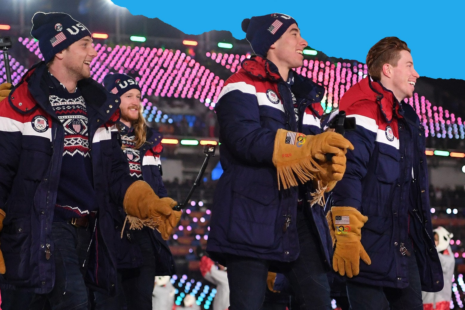 United States athletes take part during the Opening Ceremony of the PyeongChang 2018 Winter Olympic Games at PyeongChang Olympic Stadium on February 9, 2018 in Pyeongchang-gun, South Korea.