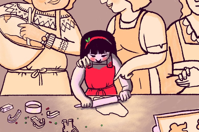 Illustration of a group of women showing a girl how to making cookies.