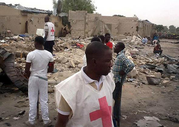 two explosions in a crowded neighbourhood of Nigeria's restless northeastern city of Maiduguri, a stronghold of Boko Haram Islamists.
