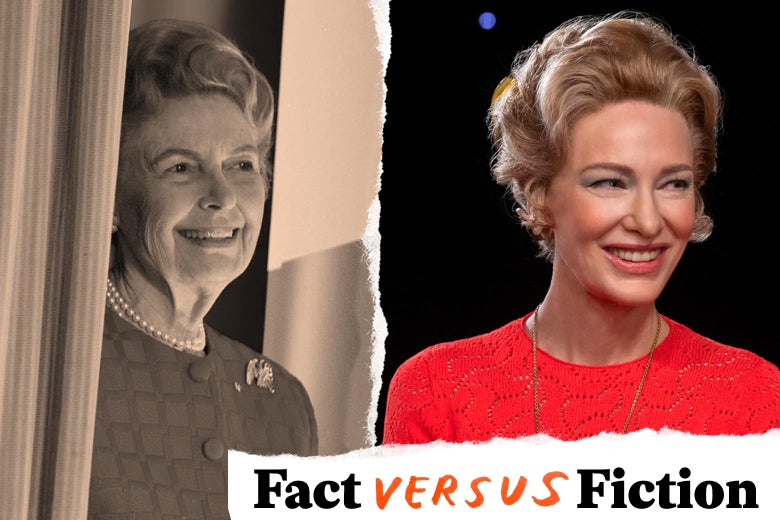 A black and white photograph of the real Phyllis Schlafly wearing pearls and smiling set beside a color image of Cate Blanchett portraying Schlafly, also smiling. The likeness between the two women is uncanny.