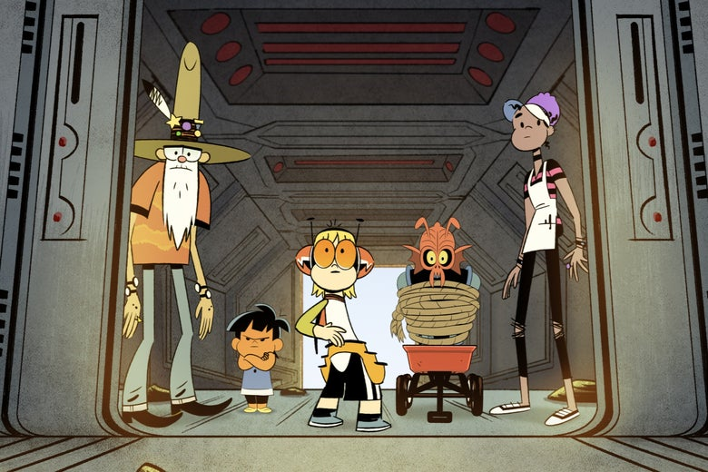 A young boy in superhero garb, an old man in a cowboy hat, a toddler and a teenage girl in an apron stand around a tied-up alien.