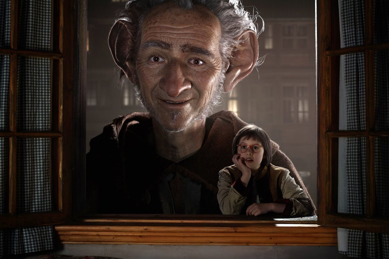 A giant with enormous ears and a little girl wearing glasses look through a window.