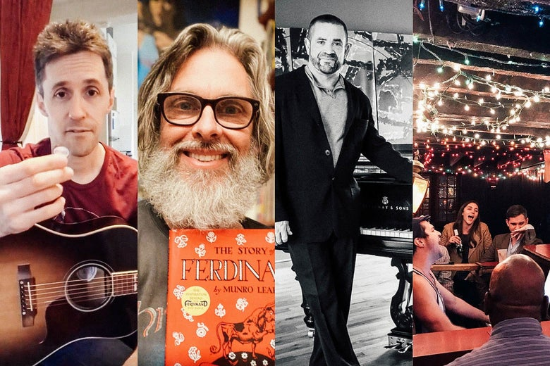 A collage of Dan Smith, Michael Chabon smiling big with a copy of Ferdinand the Bull, musician Anthony de Mare, and a drunken sing-along