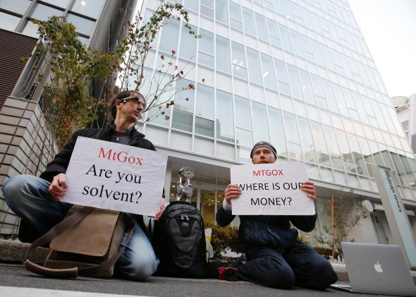 Mt Gox protesters Kolin Burges and Aaron, Tokyo