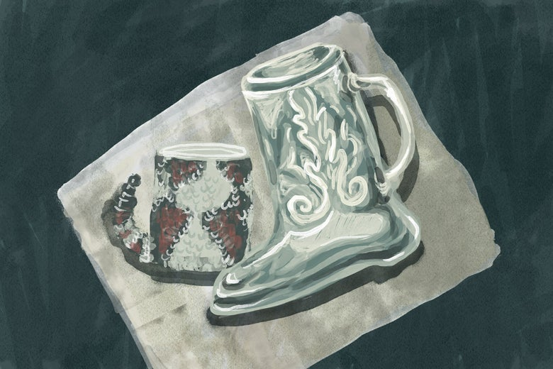 A drawing of a boot-shaped mug with a separate mug can be seen on a napkin.