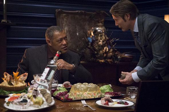 Laurence Fishburne and  Mads Mikkelsen from Hannibal.